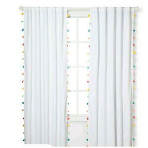 NEW!! (1) Pillowfort White Colorful Tassel Panel